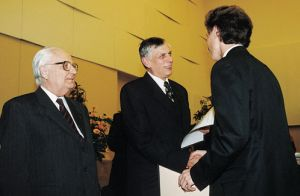 Maciej Pabich, laureate of the 2nd prize, Prof. Jan Waszkiewicz and Prof. Victor Merzhanov.